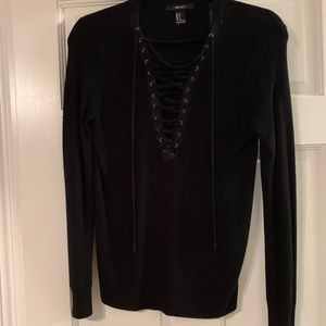 Forever 21 black lace up sweater size small